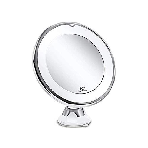 Infitrans Specchio da Trucco LED Ingrandimento 10X con Ventosa,specchio ingranditore con luce Specchio Cosmetico Illuminato Ingrandente x10 - Bagno Make Up Baxtterie- Bianco