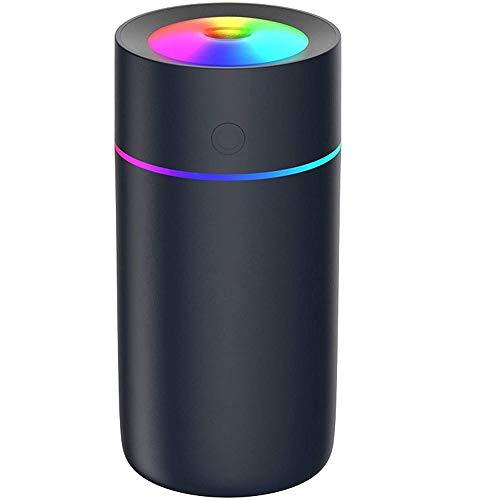 Umidificatore Mini - Unità di umidificazione premium con serbatoio dell'acqua da 320ml, funzionamento Ultrasuoni silenzioso, spegnimento automatico e funzione luce notturna (nero)