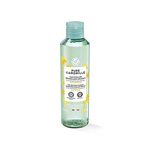 Yves Rocher PURE CAMOMILLE Acqua micellare lenitiva con camomilla biologica, cura delicata per pelli sensibili, 1 flacone da 200 ml