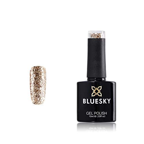 BlueSky UV/LED soak off KS gamma glitter colore smalto in gel, 10 ml, oro lusso