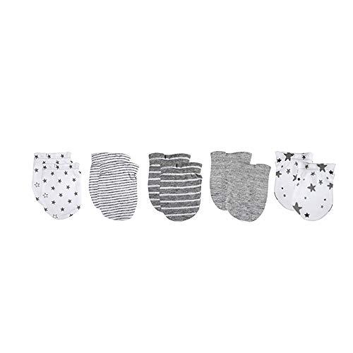 Set di 5 cappelli e 5 paia di muffole per neonati, per bambini, ragazzi e ragazze, 0-6 mesi, 100% cotone Muffole grigie Taglia unica