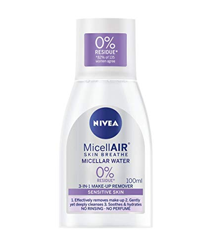NIVEA MicellAIR Skin Breathe Acqua Micellare (100 ml), 3 in 1 Sensibile Make Up Remover, Acqua Pulizia Micellare Acqua Delicata Idratante Donna