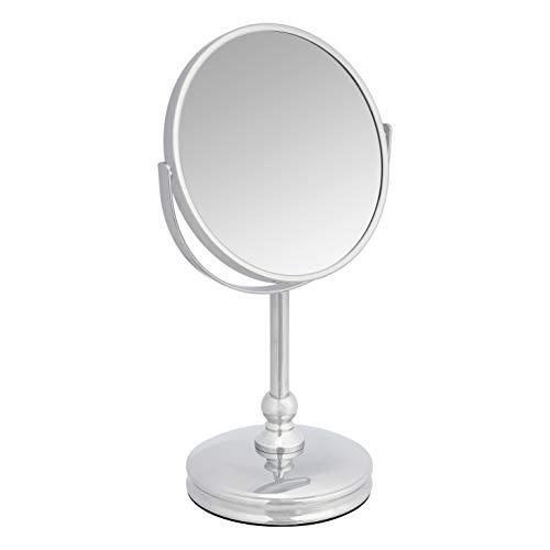 Amazon Basics - Specchio cosmetico con base solida, ingrandimento 1x/5x, cromato