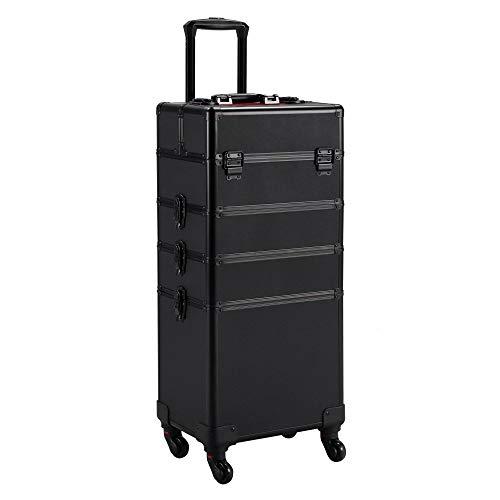 Yaheetech Valigia Beauty Case Make Up Rigido da Viaggio Trolley da Trucco Professionale Grande 4 in 1