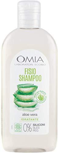 Omia - Fisio Shampoo Eco Bio con Aloe Vera del Salento, Adatto ad un Uso Frequente, per Capelli Secchi, Dona Luminosità al Capello, Dermatologicamente Testato - Flacone da 250 ml