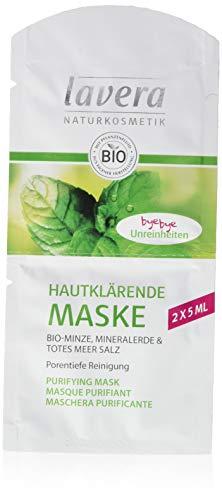 Lavera Maschera depurante per la pelle, menta biologica, terra minerale & Sale Morto Morto, confezione da 15 (15 x 10 ml)
