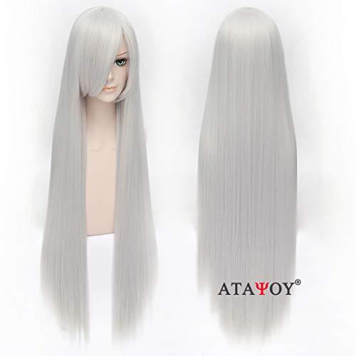 ATAYOU® 100 cm / 40 '' Capelli lisci lunghi Parrucca diritta grigia bianca Parrucca Cosplay Unisex lunga parrucca + Cappellino