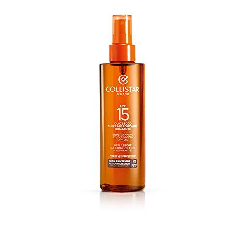 Collistar Olio Secco Superabbronzante Idratante Protezione 15, Olio spray per Viso, Corpo e Capelli, Prolunga l'abbronzantura e protegge da salsedine e sole, Con Vitamina E, Non unge, 200 ml