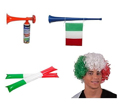 Zeus Party Kit per Partite Della Nazionale Italiana di Calcio con Parrucca Trombetta con Bandierina Palloni Gonfiabili e Tromba da Stadio Supporta gli Azzurri con i Gadget Euro 2021