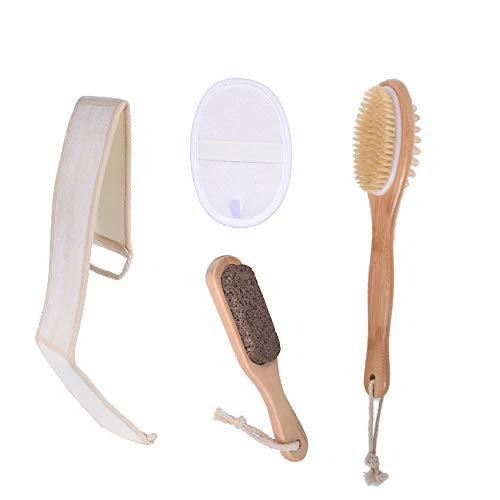 Spazzola per il corpo Loofah Spazzola da bagno Scrubber per la schiena Spugna per il viso, scrubber per pedicure per doccia SPA per uomini e donne (4 pezzi)