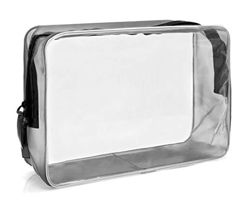 MyGadget Busta Trasparente da Viaggio per Aereo - Beauty Case Waterproof con Cerniera - Pouch da Viaggio per Cosmetici Liquidi Contenitore - Borsa Taglia L
