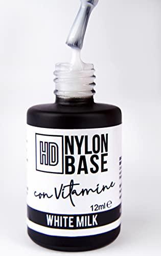 WHITE MILK - Base soak off modellante rinforzante unghie con FIBRE di Nylon, con vitamine e calcio - Tecnica SEMIPERMENTE con RINFORZO -12ml   Beauty Space nails