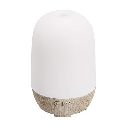 Amazon Basics - Diffusore di oli essenziali per aromaterapia, a ultrasuoni, 100 ml, base con finitura grigia con venature del legno, con luce notturna di 7 colori