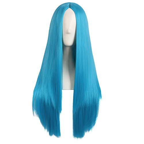 MapofBeauty 28 Pollic/70cm Donne Speciale Naturale Lungo Dritto Side Bangs Sintetico Parrucca (Ciano Blu)