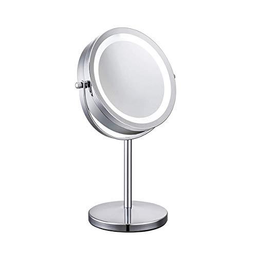 Meowoo Specchio Trucco Cosmetico Con Piedistallo specchio ingranditore 10x Doppia Faccia specchio trucco illuminato LED, Specchio da Tavolo per Trucco e Rasatura, 360°Girevole(Argento,1 pc)