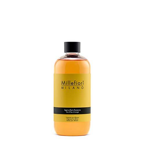 Millefiori Milano Ricarica per Diffusore di Aromi per Ambiente, Fragranza, Legni e Fiori D'arancio, 500 ml