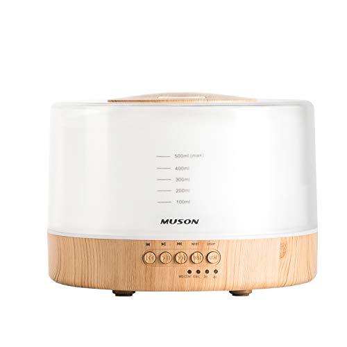 Muson Diffusore di olio essenziale Diffusore combinato macchina sonora per olio profumato aromaterapia, musica dal suono naturale e luce notturna calda, spegnimento automatico senza acqua