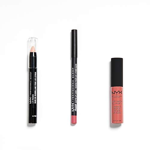 NYX Professional Makeup Cannes Set 3 Pezzi, Soft Matte Lip Cream, Suede Matte Lip Liner, Lip Primer