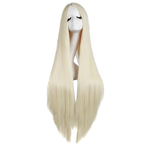 MapofBeauty 100cm/ 39 Pollice Medio Lisci Donna Lisci Parrucche (Leggero Biondo)