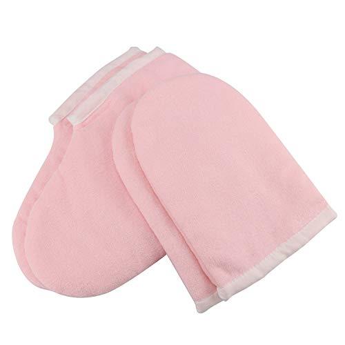 SuperMega® Guanti da bagno in cera di paraffina e stivali, cura di cera, guanti isolati, terapia del calore, trattamento di spa della mano, guanto abbronzato (rosa)