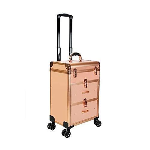 KUYUC Grandi Valigia per Cosmetici, Professionale Valigia da Trucco Beauty Case, Alluminio Make up Case con Ruote Universali per Travel Stoccaggio (Color : Rose Gold)