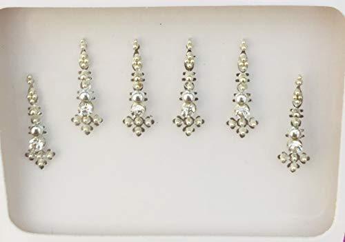 Viso arabo Fronte BB113 argento Bindi Bindi pietra di cristallo autoadesivo del tatuaggio nozze Tikka indiano operato dal partito Gem Body Art