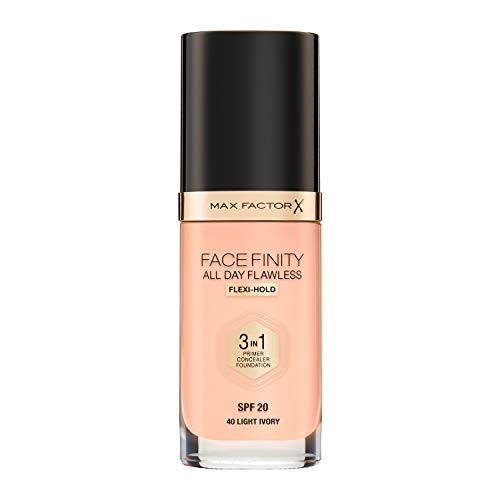 Max Factor - Fondotinta Facefinity All Day Flawless 3 in 1, n° 40 Ivory