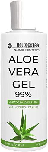 Aloe Vera Gel 100%, aloe vera gel puro e biologico. Per Viso, Corpo e Capelli, per pelli secche e stressate. Idratante, lenitivo, rinfrescante per scottature solari, smagliature 200 ML