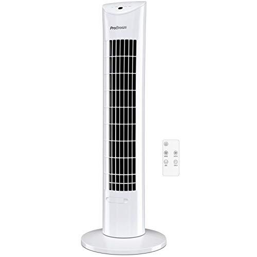 Pro Breeze Ventilatore a Torre Oscillante - 60W Con Timer 7,5 ore e Telecomando - Oscillazione a 70° Gradi e 3 Modalita di Raffreddamento- Altezza 76 cm