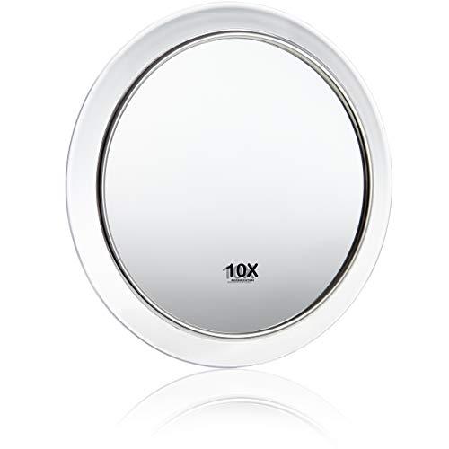 Fantasia - Specchio cosmetico ingranditore, ingrandimento 10x, in acrilico trasparente, con ventose, Ø interno 8 cm