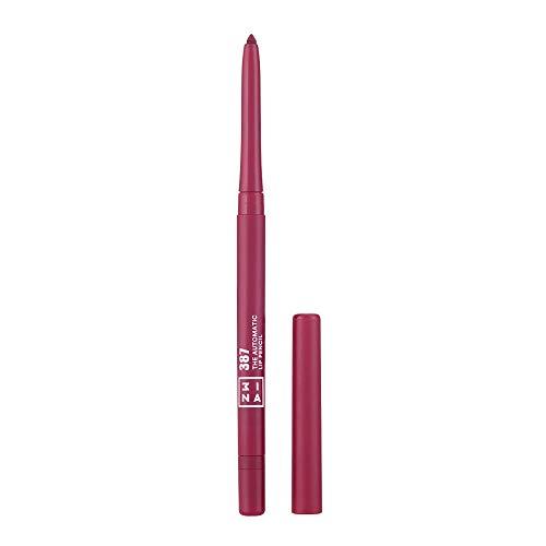 3INA MAKEUP - Cruelty Free - Vegano - The Automatic Lip Pencil 387 - Matita Labbra Retrattile a Lunga Durata - Waterproof - con Pennellino Integrato - Viola