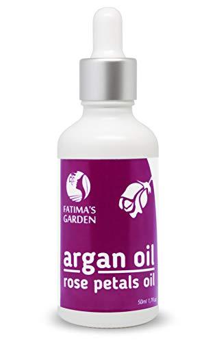 Olio di Argan con petali di rosa macerati by Fatima's Garden - 100% naturale per viso, capelli, corpo, unghie - Anti-età, idratante, premuto a freddo, rafforza i capelli-50ml