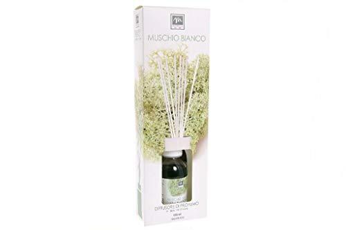 GIRM® - ME16477 Diffusore d'Essenza con Bastoncini in Cotone Aroma Muschio Bianco ml 125