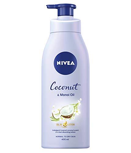 NIVEA Olio In Lozione Cocco & Olio Monoi, Lozione Corpo Reintegro con un Profumo di Cocco e Potente Olio Monoi, Crema Idratante, Lozione Nivea Corpo 400ml