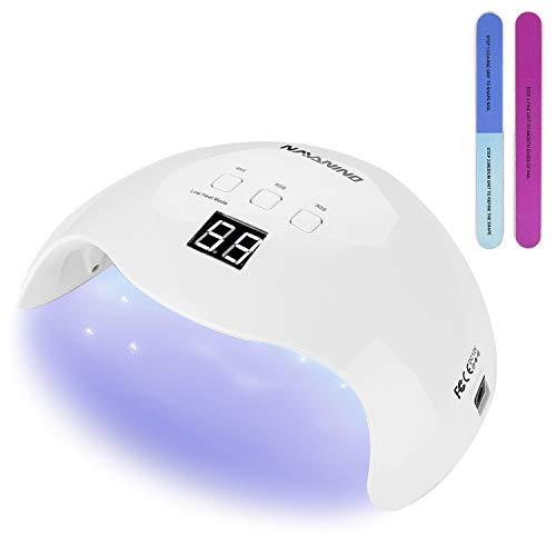 NAVANINO Lampada UV LED, Può Curare Rapidamente i Raggi UV Gel gel Costruttore/LED 48W Potenza Massima Viene Fornito con 2 Bastone Per Levigatura Timer Preimpostati (30s,60s,99s) (bianca)