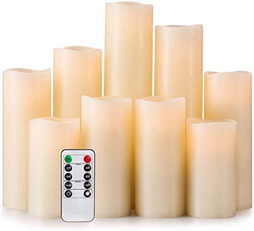 Hausware Set di 9 Candele Senza Fiamma, 10,2 cm 12,7 cm 15,2 cm 17,8 cm 20,3 cm 22,9 cm Funzionamento a Batteria, per Esterni luci LED Candele con Telecomando e Timer (Avorio)