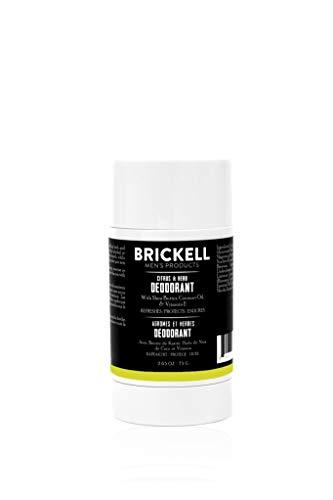 Brickell Men's Products Deodorante naturale per uomo, naturale e organico, senza alluminio, alcol e bicarbonato di sodio, 78mL (Agrumi ed Erbe)