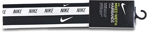 Nike - Fasce per capelli da donna MIXED WIDTH HEADBANDS, 3 pezzi, nero/bianco/nero, taglia unica