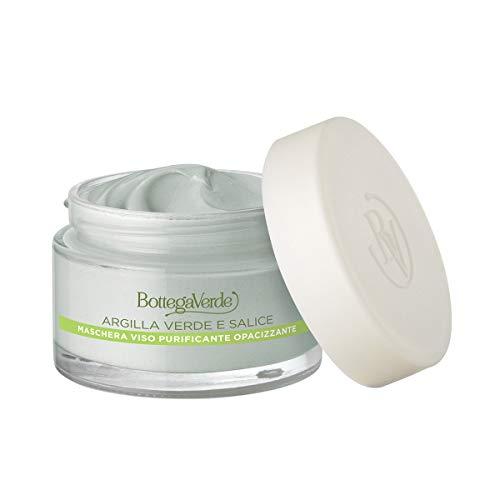 Bottega Verde - Maschera Argille di bellezza per il viso purificante opacizzante (50 ml) - Argilla verde di Sicilia ed estratto di Salice - pelli impure o grasse