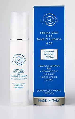Lumas Crema viso alla Bava di Lumaca Bio con Vitamina C + E, Arginina, Acido Lipoico, D.M.A.E - 100% MADE IN ITALY
