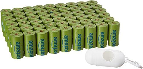 AmazonBasics - Sacchetti igienici per cani con additivi certificati EPI e dispenser e clip per attacco al guinzaglio, confezione da 810 sacchetti, aroma: polvere di talco