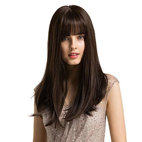 HAIRCUBE Parrucche 20 pollici naturali dritte marrone scuro per donne bianche Parrucche sintetiche per capelli morbidi con scoppi smussati