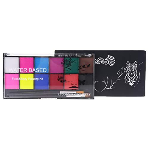 Gulang-keng Face and Body Paint Mini Starter Kit 12 Colors with Brush for Beauty Kit Makeup Cosmetic Supplies