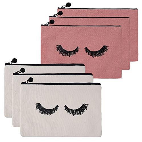 Cosmetici Borsa 6 Pezzi Tela Beauty Case Borsa di Trucco Cosmetici Organizzatore con Motivo a Ciglia per Donne Ragazze