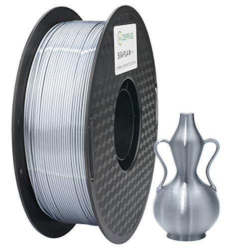 CERPRiSE Silk PLA Filament 1.75mm 3D Printer Filament 3D Printer Material 1kg / Spool, Silk Silver