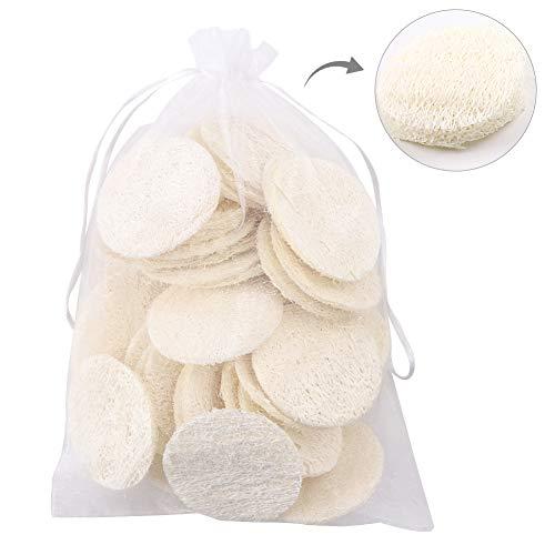 40 pezzi di luffa esfoliante, spugnette in luffa naturale spugne per strofinare, cuscinetti riutilizzabili per la rimozione del trucco per uomo donna detergente per il viso detergente per il bagno