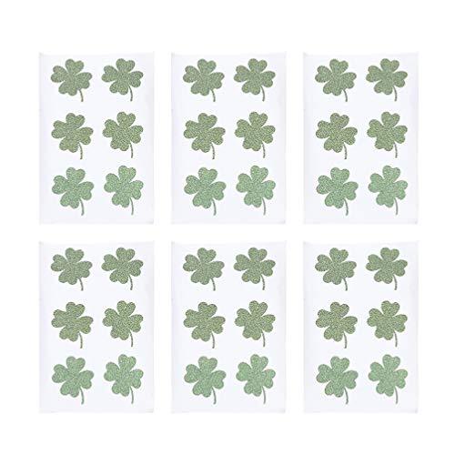 Amosfun adesivi quadrifogli glitter quadrifogli tatuaggi sticker st. complementi arredo giorno patricks (verde)