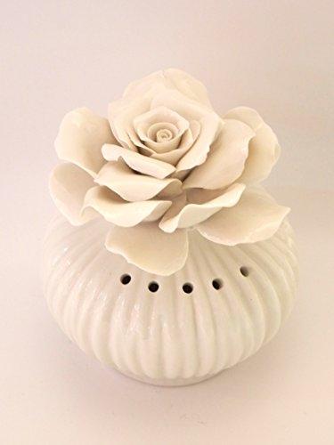Visconti PROFUMATORE Ambiente White Rose - BOMBONIERA Matrimonio - Porcellana Capodimonte