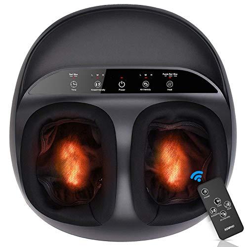 RENPHO Massaggiatore Piedi, Shiatsu Massaggio Plantare Elettrico con Funzione Calore, Rolling e Compressione d'aria, 3 Intensità Regolabili, per la Cura dei Piedi e Sollievo dallo Stress (Heat)