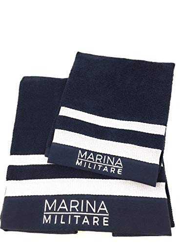 Marina Militare Coppia di Asciugamani 1+1 in Pura Spugna idrofila a Grana di Riso Art. 7406MM
